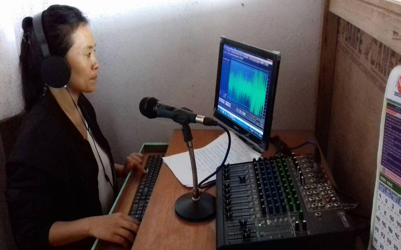 Awareness raising on 'safe migration' and 'prevention of human trafficking' via radio (pic: HuRF/AWO International)