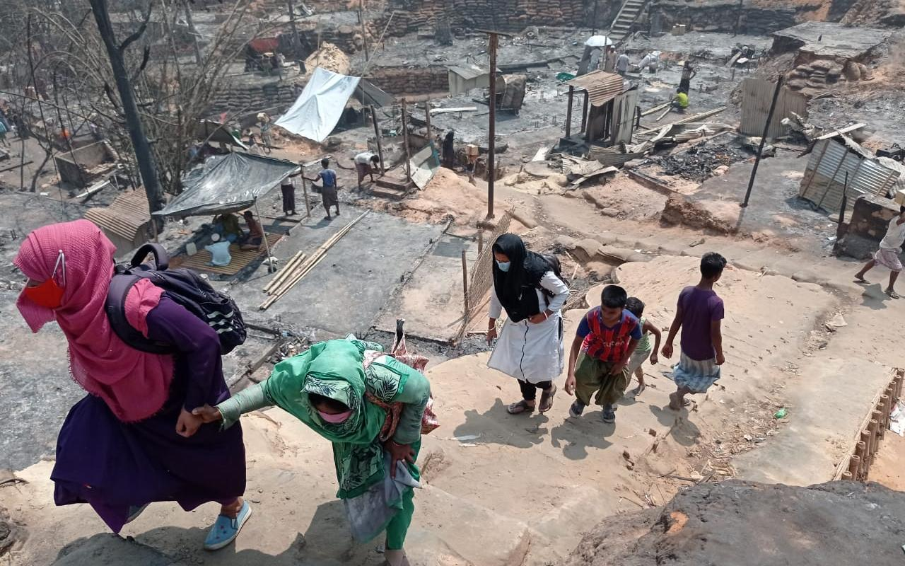 The massive fire destroyed more than 10,000 huts in the world's largest refugee camp in Bangladesh (Photo: AWO International/GUK)